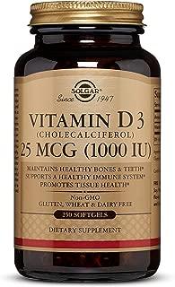 Solgar Vitamin D3 (Cholecalciferol) 25 mCG (1000 IU) Softgels - 250 Count