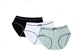 Musey Women's Cotton Hipster Underwear 3Pack Medium Waist Panties Big Size Hipster Panties with Extra Elasticity