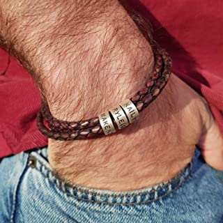 Handmade Custom Made Men`s Genuine Brown Leather Bracelet with Small Custom Beads in Sterling Silver - Personalized Man Father`s Day Jewelry Gift for Him Dad Grandfather Husband