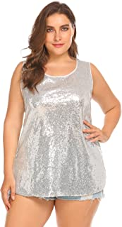 1fbcbd045664bf IN VOLAND Women s Plus Size Glitter Sequin Tank Top Sleeveless Sparkle  Shimmer Shirt Tops Camisole