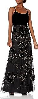 Adrianna Papell womens Sleeveless Spaghetti Strap Long Beaded Velvet Bodice Dress Formal Dress
