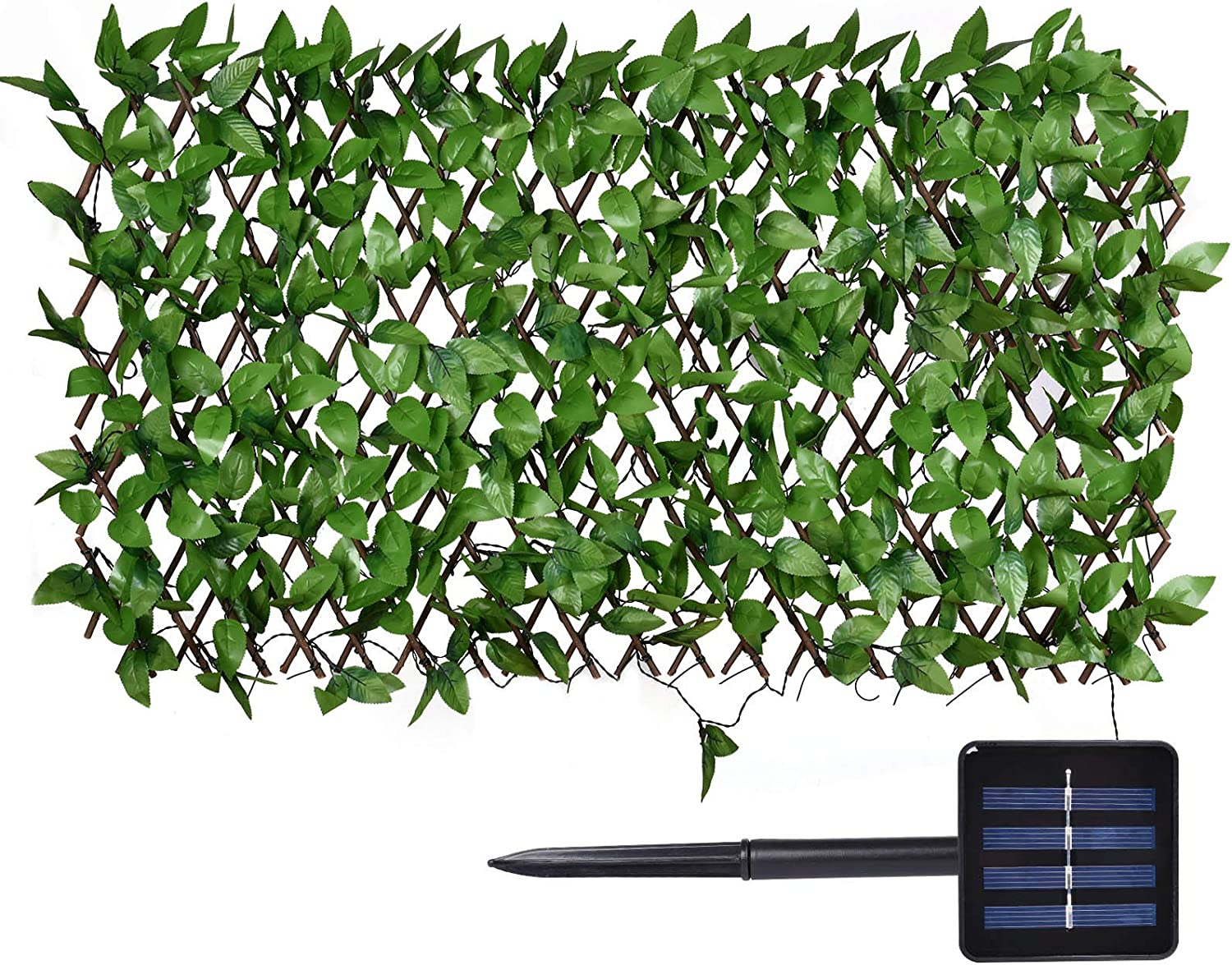 Expandable Faux Privacy Fence cheap Screen with 113-LED Lights O Solar sold out