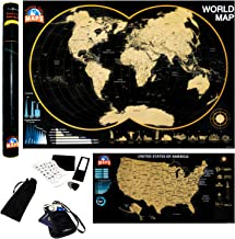 Large World Scratch Off Map - Small United States Scratch Off US Poster - Track Places Traveled and Visited - Deluxe Premium Traveling Maps - Scratch Away Color Country Tracker - Destination Tracking