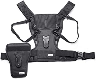 Multi Camera Chest Carrying Vest Harness System with Side Holster for Canon Nikon Sony and Other DSLR Cameras