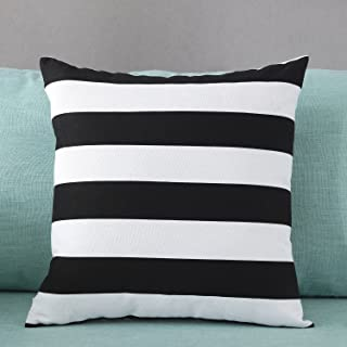 TAOSON Home Decorative Cotton Canvas Square Throw Pillow Cover Cushion Case Stripe Toss Pillowcase with Hidden Zipper Closure Multiple Colors (24