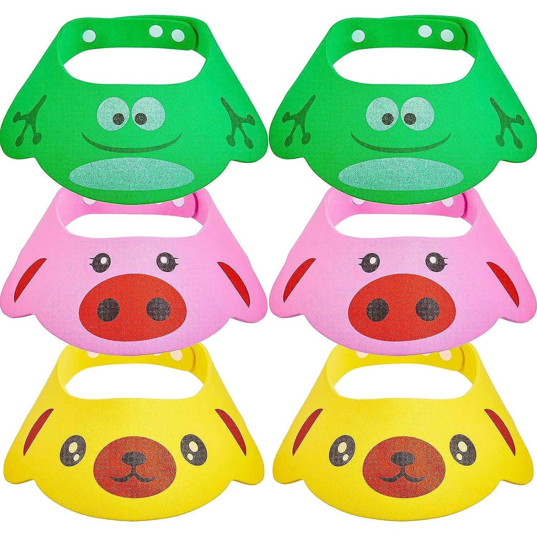 6 Pieces Baby Shower Hat Soft Adjustable Child Visor Shampoo Bathing Protection Head Cap Safe Cartoon Bathing Hat for Toddler Baby Kids Infants Eye Face Protecting (Pig, Frog, Bear)