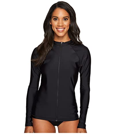 Speedo Zip Front Long Sleeve Rashguard (Black) Women