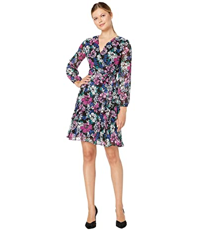 Tahari by ASL Long Sleeve Clip Dot Chiffon Floral Dress w/ Tiered Skirt Detail (Black Berry Bloom) Women
