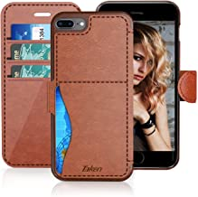 iPhone 8 Plus/iPhone 7 Plus Leather Wallet Case with Metal Magnetic, Slim Fit and Heavy Duty, TAKEN Plastic Flip Case/Cover with Rubber Edge, for Women, Men, Boys, Girls, 5.5 Inch (Dark Brown)