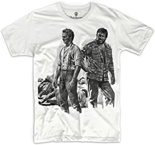 Movin Cruisin Bianco Due ASSE trumpfen Auf Terence Hill Bud Spencer T-Shirt da Uomo