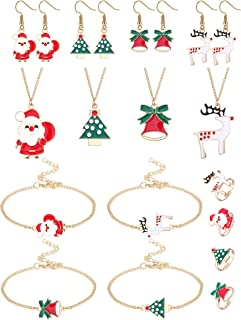 YADOCA 16 Pcs Christmas Jewelry Sets for Women Christmas Tree Santa Claus Elk Bell Cartoon Thanksgiving Xmas Jewelry Holid...