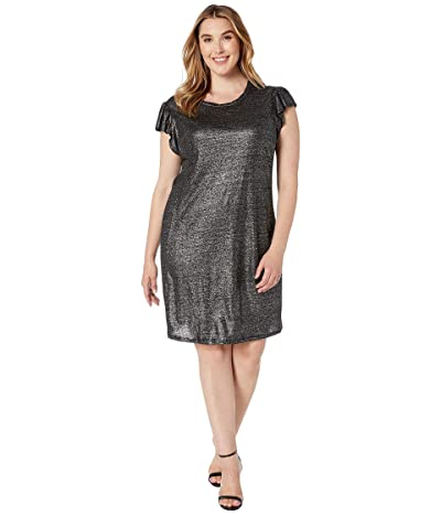 MICHAEL Michael Kors Plus Size Linen Ruffle Dress (Black/Silver) Women