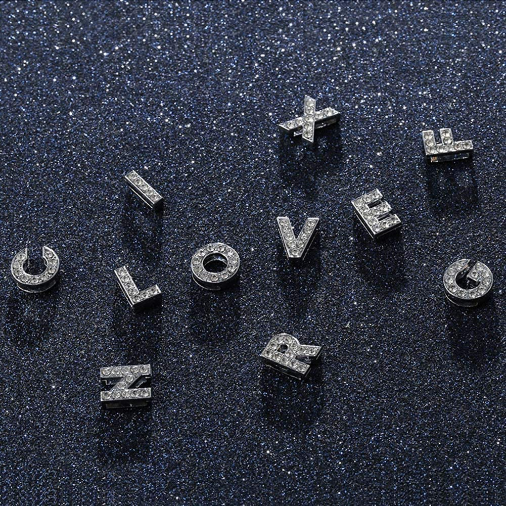 Necklaces, Glitter Rhinestone Inlaid 26 Letter Charm Chain Clavicle Necklace Couple Jewelry - A