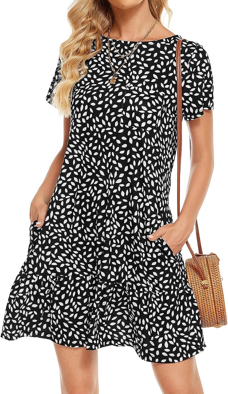 Berydress Women's Summer Casual T Shirt Dress with Pockets Short Sleeve Crew Neck Ruffle Hem Cotton Tunic Tops Loose Dress