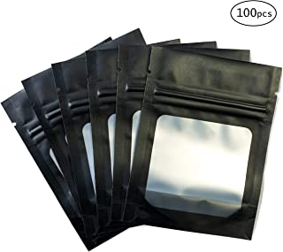HANSER | Smell Proof Odorless Mylar Resealable Foil Pouch Bags with clear Window | Food Safe | Airtight Ziplock | matte black | 100 Pieces | 3x4 inches
