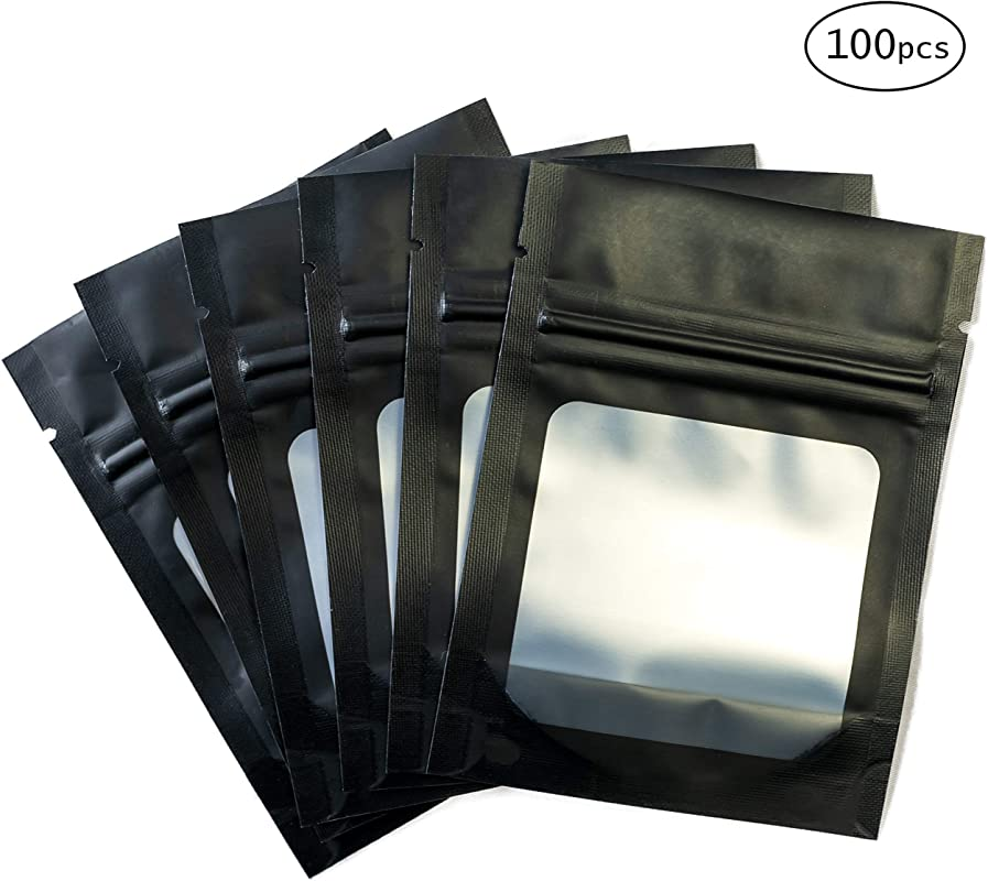 HANSER Smell Proof Odorless Mylar Resealable Foil Pouch Bags With Clear Window Food Safe Airtight Ziplock Matte Black 100 Pieces 3x4 Inches