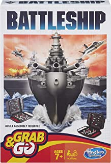 Battleship Grab and Go Game; Portable 2 Player Game; Fun Travel Game for Ages 7 and Up