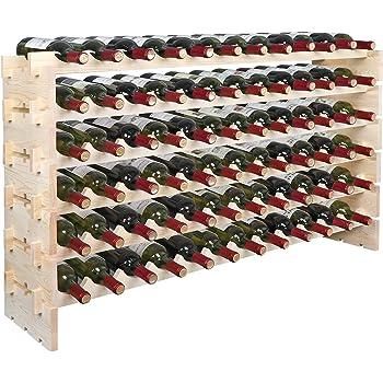 Smartxchoices Stackable Modular Wine Rack Floor Wine Storage Stand Wooden Wine Holder Display Shelves, Wobble-Free, Solid Wood, Free Standing (Six-Tier, 72 Bottle Capacity) (Wood) (72 Bottle)
