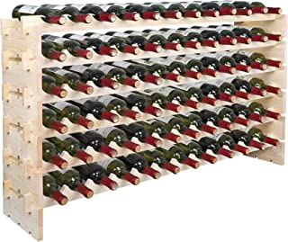Smartxchoices Stackable Modular Wine Rack Floor Wine Storage Stand Wooden Wine Holder Display Shelves 72 Slots, Wobble-Fre...