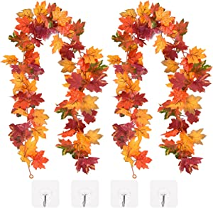 CaseTank 2 Pack Fall Decor Fall Maple Leaf Garland 5.8Ft/Piece Autumn Hanging Vine Artificial Foliage Garland Fall Decorations for Home Wedding Thanksgiving Party-Mixed Color