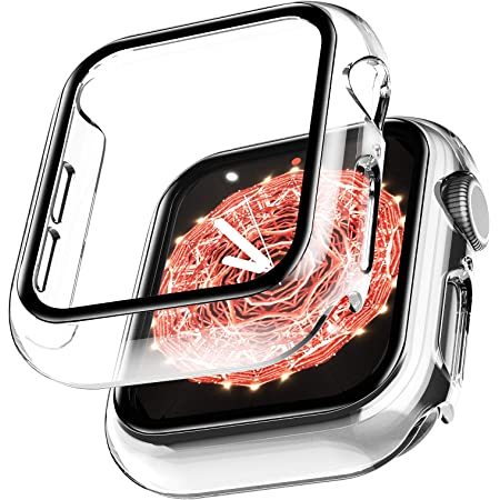 LϟK 2 Pack Funda Protector de Pantalla de Cristal Templado Incorporado para Apple Watch 44mm Series 6 5 4 SE - Estuche Protector General para PC Duro HD Ultra-Thin Carcasa para iWatch 44mm - Claro