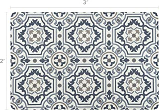 Vinyl Floor Mat, Durable, Soft and Easy to Clean, Ideal for Kitchen Floor, Mudroom or Pet Food Mat. Freestyle, Denim Tapestry Pattern (2 ft x 3 ft)