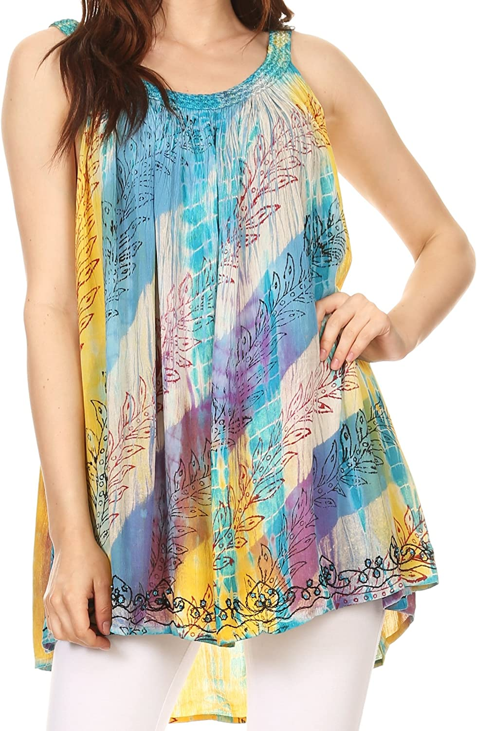 Sakkas Amalia Picot Trim Scoop Neck Tank with Sequins and Embroidery