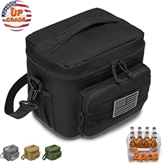DBTAC Tactical Lunch Bag Large   Reusable Insulated Cooler, Office Work Travel Picnic Beach Lunchbox Organizer with MOLLE Webbing for Men/Kids   Easy To Clean & Leakproof Liner x2 Included (Black)