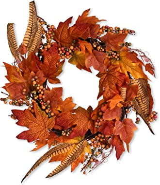 Fall Decor Fall Wreath 18 Inch Autumn Wreaths Maple Leaf Garland, Fall Thanksgiving Decoration for Home Wedding Party as Fire