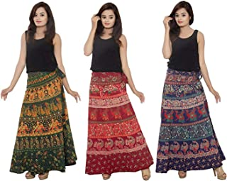 kalpit creations Women's Cotton Wrap Around Long Skirts [Multicolour]- Pack of 3