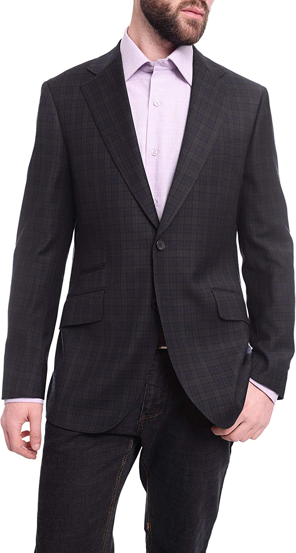 Napoli Slim Fit Blue & Green Plaid Half Canvassed Wool Blazer Sportcoat