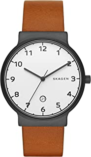 Skagen Ancher Men's Silver Dial Leather Band Watch - Skw6297, Analog Display