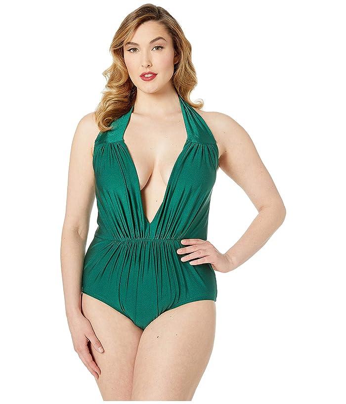 Unique Vintage Plus Size Halter Shirred Derek One-Piece Swimsuit (Forest Green) Women