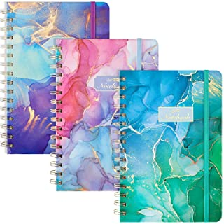 """EOOUT 3 Pack College Ruiled Quandand Spiral Notebook، 5.5 """"x8.3"""" 80 Sheets Lined Journal، Hardcover Colorful Abstract Pattern for School Office Home"""