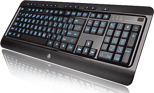 Azio Large Print Backlit Wired Keyboard Black