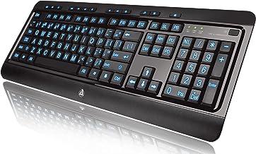 Azio Large Print Tri-Color Backlit Wired Keyboard (KB505U)