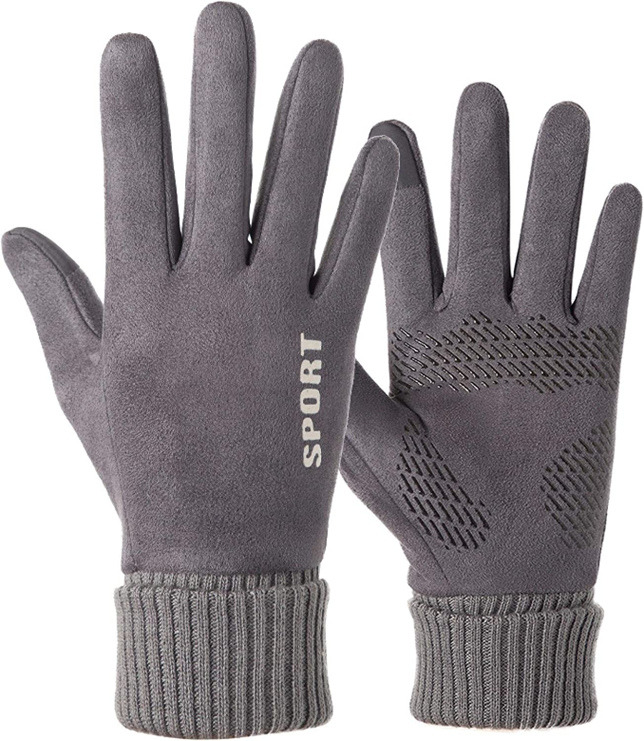 AMILIEe Gloves Women Winter Warmth and Thickening Plus Velvet Riding Electric Bike Touch Screen Cute Suede Gloves Women One Size Dark Gray