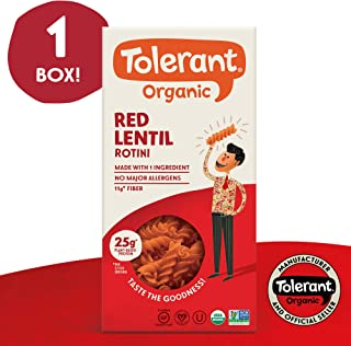 Tolerant Organic Gluten Free Red Lentil Rotini Pasta, One 8 Ounce Box, Plant Based Protein, Vegan Pasta, Single Ingredient Protein Pasta, Whole Food, Clean Pasta, Low Glycemic Index Pasta