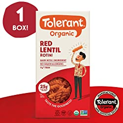 Tolerant Organic Gluten Free Red Lentil Rotini Pasta, One 8 Ounce Box, Plant Based Protein, Vegan Pa