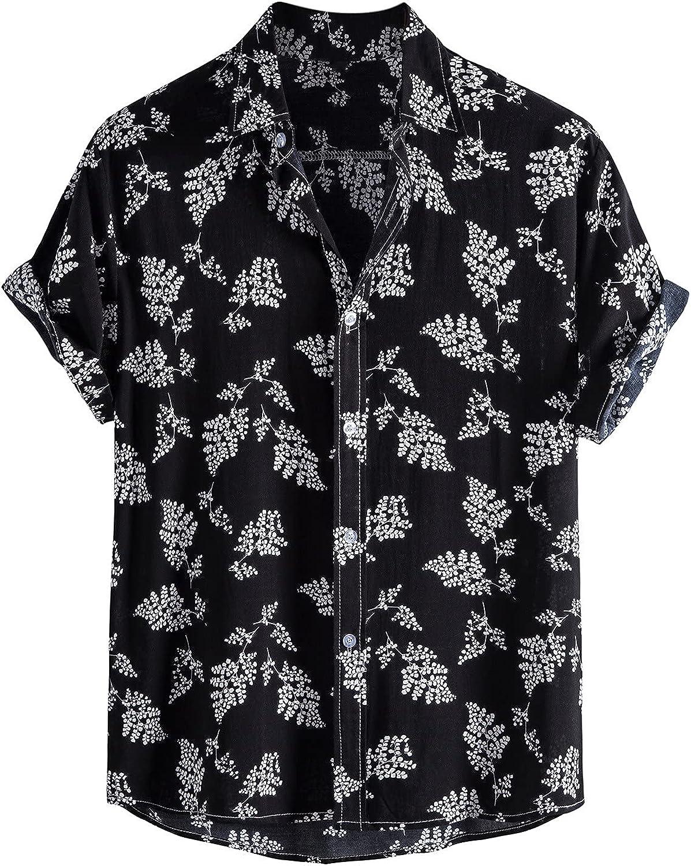 Men's Novelty Printed Hawaiian Shirt Casual Tropical Beach Holiday Aloha Short Sleeve Button Down Shirt