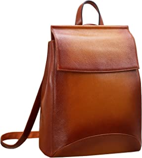 Womens Leather Backpack Casual Style Flap Backpacks Daypack for Ladies (Sorrel)