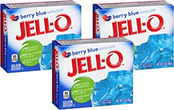 Jell-O Berry Blue Gelatin Mix 3 Ounce Box,Berry Blue,(Pack of 3)