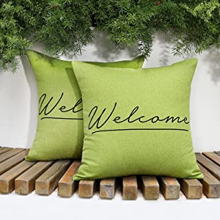 Lewondr Waterproof Outdoor Throw Pillow Cover, 2 Pack UV Protection Throw Pillow Case Welcome Printing Garden Balcony Cush...
