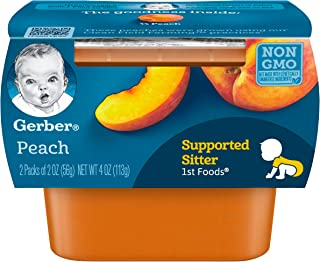 Gerber Purees 1st Foods Peach Tubs, 2 Count per pack, 4 Ounce, Pack of 8
