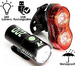 AWE 200Blitz/™ USB Rechargeable Kit d/éclairage Avant et arri/ère de v/élo IPX4 Etanche Super Bright 240 Lumens