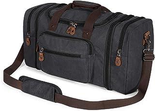 Plambag Oversized Canvas Duffle Bag 50L Tote Travel Weekend Luggage Gym Duffel Bag Dark Grey