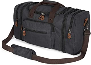 Plambag Oversized Canvas Duffle Bag 50L Tote Travel Weekend Luggage Gym Duffel Bag Dark Grey