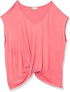 Paper + Tee Women's V-Neck Short-Sleeve Drape Neckline Top