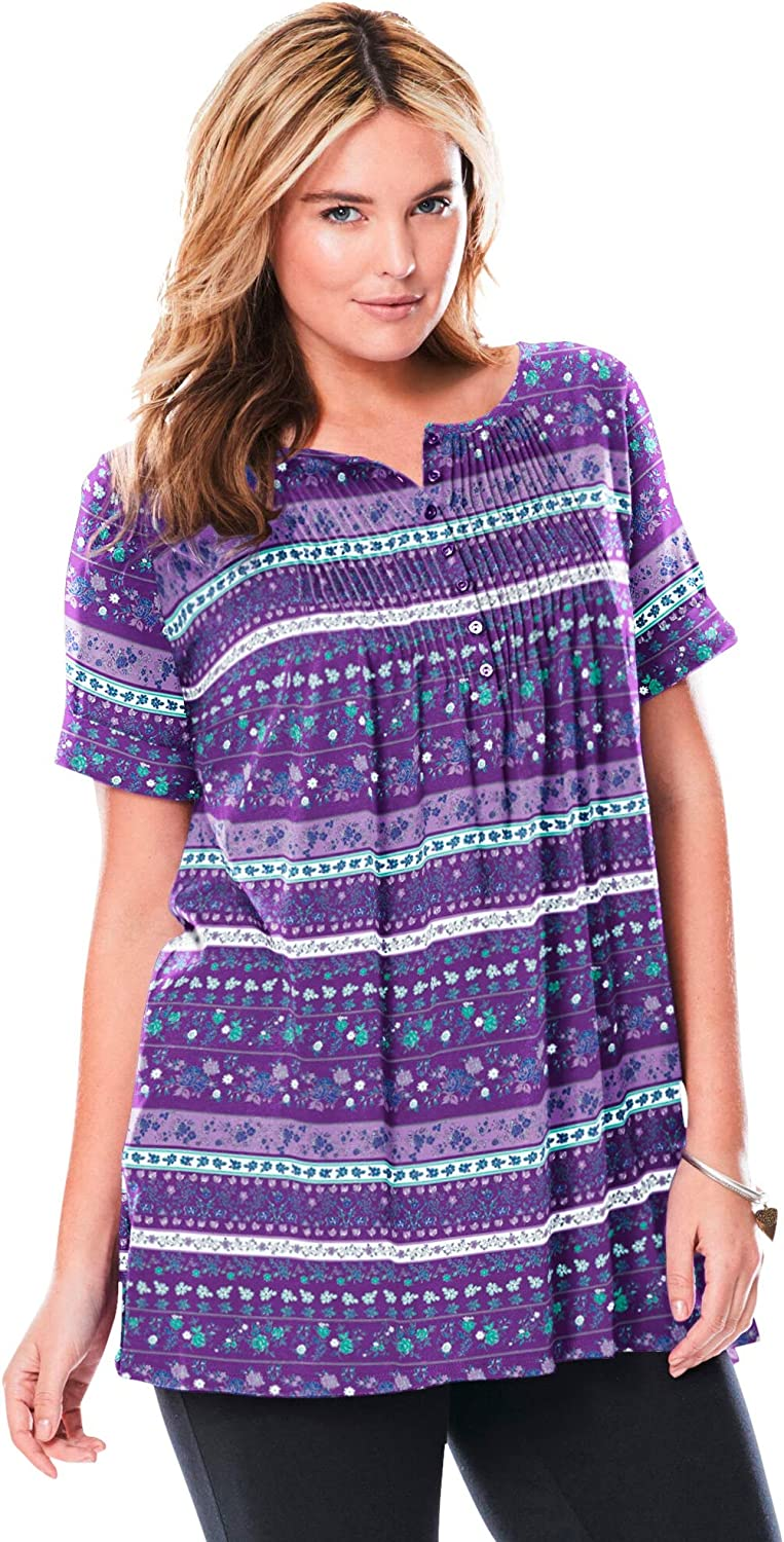 Woman Ranking Year-end gift TOP17 Within Women's Plus Size Tun Pintucked Henley Short-Sleeve
