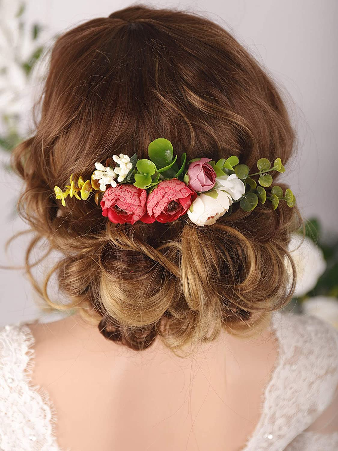 Kercisbeauty 40% OFF Cheap Sale Bridal Floral OFFicial site Red Rose Combs Wedding Hair Ha Flower